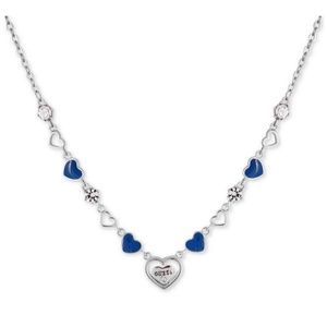 GUESS Crystal Logo Heart Collar Necklace